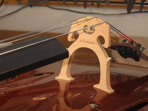 The bridge on a Folland cello